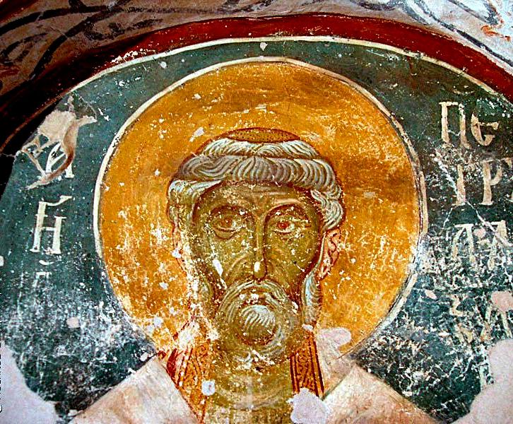 Фреска Петра Александрийского в церкви Спаса на Нередице под Новгородом. XII век